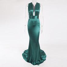 סקסי ללא משענת סאטן Bodycon מסיבת שמלת הלטר מקיר לקיר מקסי שמלה ללא שרוולים V צוואר ארוך שמלת למתוח סאטן בת ים שמלה(China)