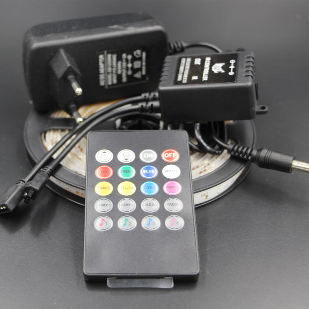 SMD 3528 2835 led strip light RGB IP65/non Waterproof Light 60LED/M 1/5M + IR Music Sound Remote Controller +12V Power Adapter(China (Mainland))