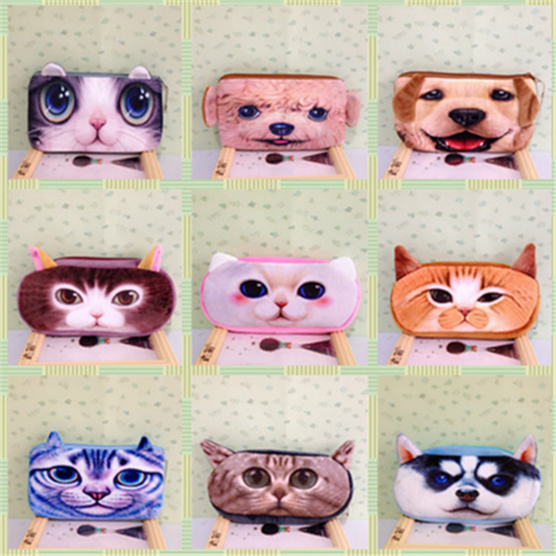 Purse 3D school pencil bag case lovely new plush stationery animals coins Pouch pen box student prizes for children gift(China (Mainland))