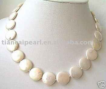 Free ship!!! Freshwater pear 14mm coin pearl necklace