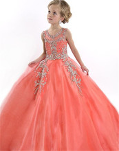 2016 Peach Special Occasion Flower Girl Dresses Cute Tulle Formal Long Beaded Pageant Gowns For Girls Floor Length