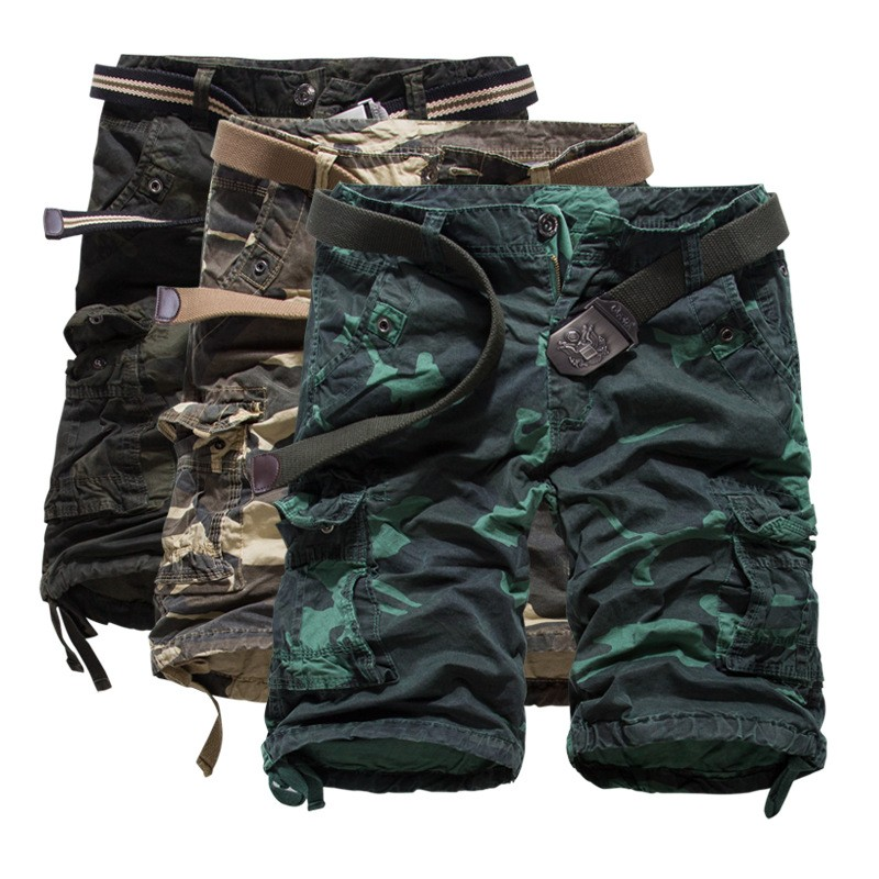 Summer 2016 Outdoors Men Camouflage bermuda Loose Baggy Multi-pocket cargo Overalls Cotton board shorts K55 3 color 29-38