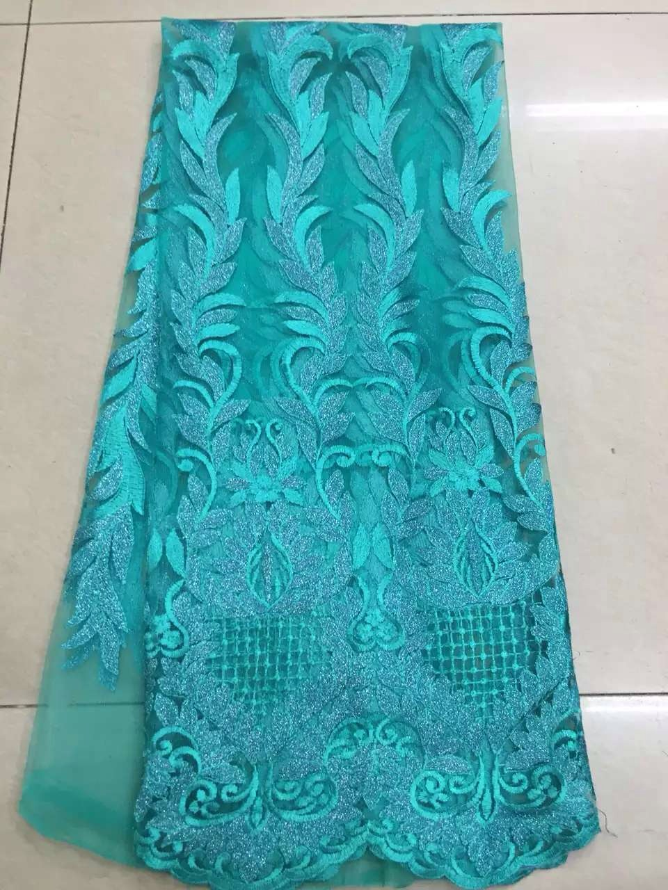 High Quality Nigerian Lace Fabrics 2016 With Stones African French Net Lace Fabric Embroidered Tulle Mesh Fabric For Party D4883(China (Mainland))