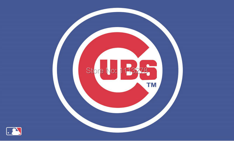 Chicago Cubs logo flag 3x5 FT Banner 100D Polyester MLB Flag Brass Grommets009, free shipping(China (Mainland))