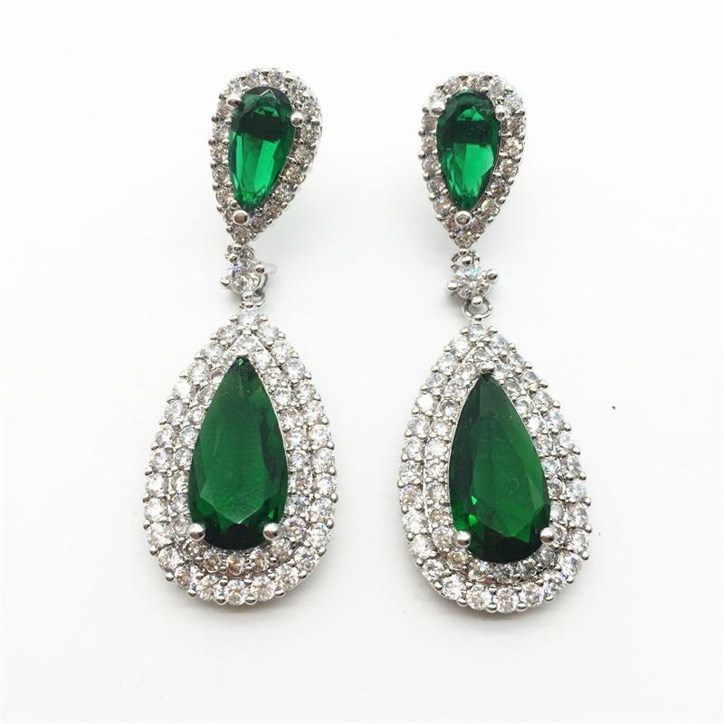 Luxury Zircon Big Waterdrop Heavy Drop Earrings Sparkling AAA Green Cubic Zirconia Fashion Bridal Wedding Party Earrings(China (Mainland))