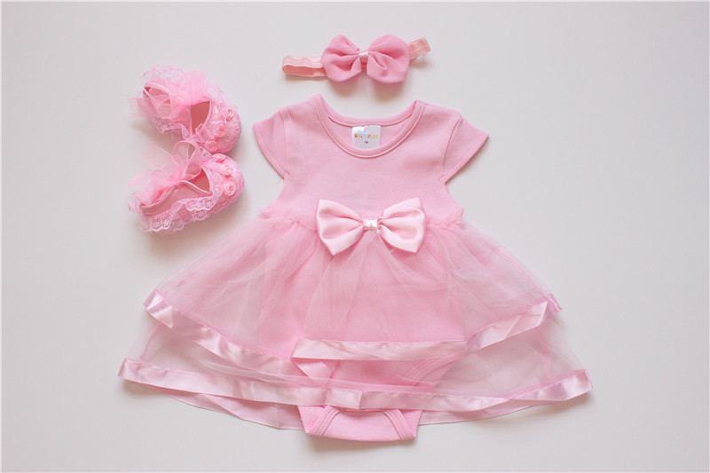 2016 Newborn Princess Style Baby Girl Clothes Set Lace Sheer Dress+ Bowknot Headband+Shoes Summer Sets for 0-18M (6)