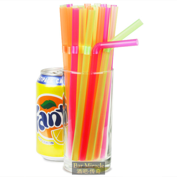 100pcs/lot 21cm Fluorescent Color Straw Cocktail Decoration Straw Food Grade Plastic Extinction Multicolour Straw Party Supplies(China (Mainland))