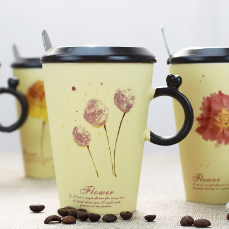 Teagasc flower series ring shape ceramic cup with a spoon cup can be customized Mug LOGO(China (Mainland))