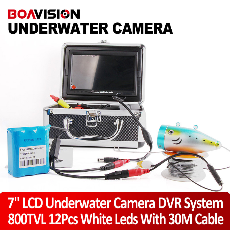 """7"""" LCD 30M Fishing Camera Fish Finder HD 800TVL Underwater Camera System Video DVR Recording With 12Pcs Light Support 16GB Card(China (Mainland))"""