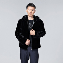 Free shipping Men's winter casual warm-up faux mink velvet coat with hood winter imitation mink overcoat(China (Mainland))