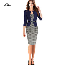 2015 Women's New Fashion Autumn Winter Style Faux Two Piece Elegant Plaid Long Sleeve Pencil Dresses/Office Wear/Work Outfits(China (Mainland))