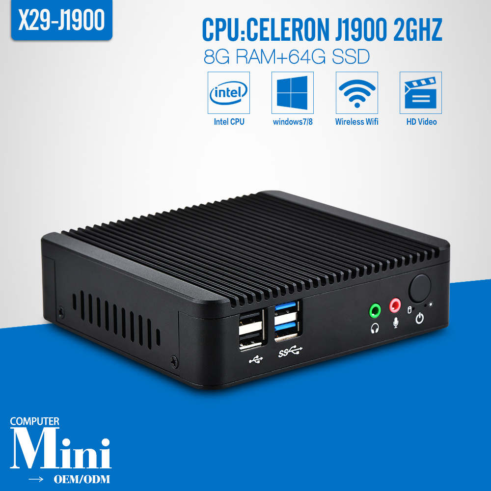 Fanless Mini PC celeron J1900 Quad Core 8G RAM+64G SSD+Wireless 150M or 300M Car PC Power Supply 12V/5A Thin Client Windows 7(China (Mainland))