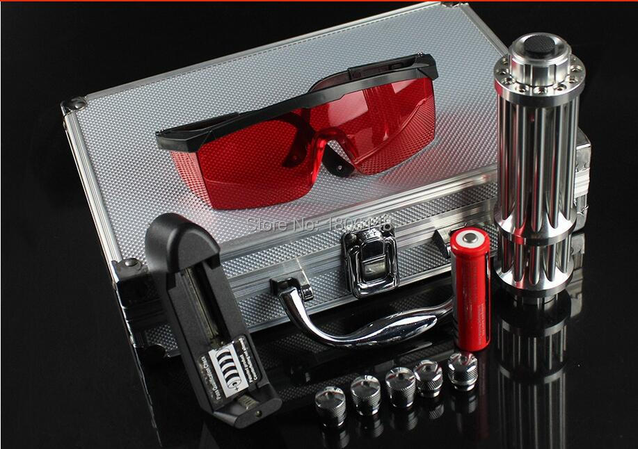 Фотография NEW 5000mw 650nm RED Laser Pointer Light Pen Lazer Beam High Power focus burn match lit cigarettes+5 caps+Glasses+charger+box
