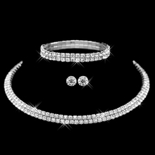 Hot Selling  Rhinestone Crystal Choker Necklace Earrings and Bracelet Wedding Jewelry Sets Wedding Accessories(China (Mainland))