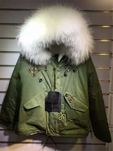 Fashion new beading style white faux fur lined coats big raccoon fur collar Mrs fur parka jacket (China (Mainland))