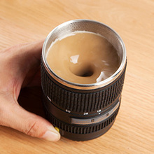 Automatic Mixing Cup Camera Lens Coffee Mug Funny Stainless Steel Travel Beer Leak-Proof Lid Wholesale Accessories Supplies(China (Mainland))