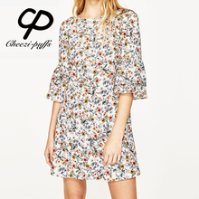 Buy CP Print Flower Yellow Dress Womens Summer Dresses 2017 Summer Bell Sleeve Mini Floral Maxi Dress Runway Fashion Female Clothing for $14.84 in AliExpress store