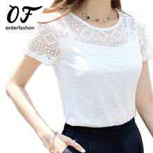 Women Lace Blouse Femme Tops Chiffon Shirt Summer 2016 White Short Sleeve Blusa Feminina Hollow Women Top Shirt Blouse Plus Size(China (Mainland))