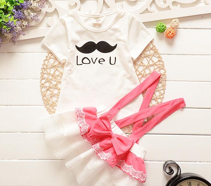 2015 New summer Baby Girls Strap Dress Clothing set Children cotton short sleeve party dresses T