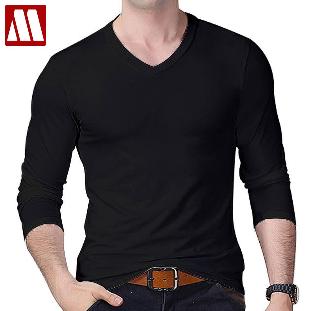 Buy nwt stylish men 39 s v neck t shirt slim for Long sleeve fitted tee shirt