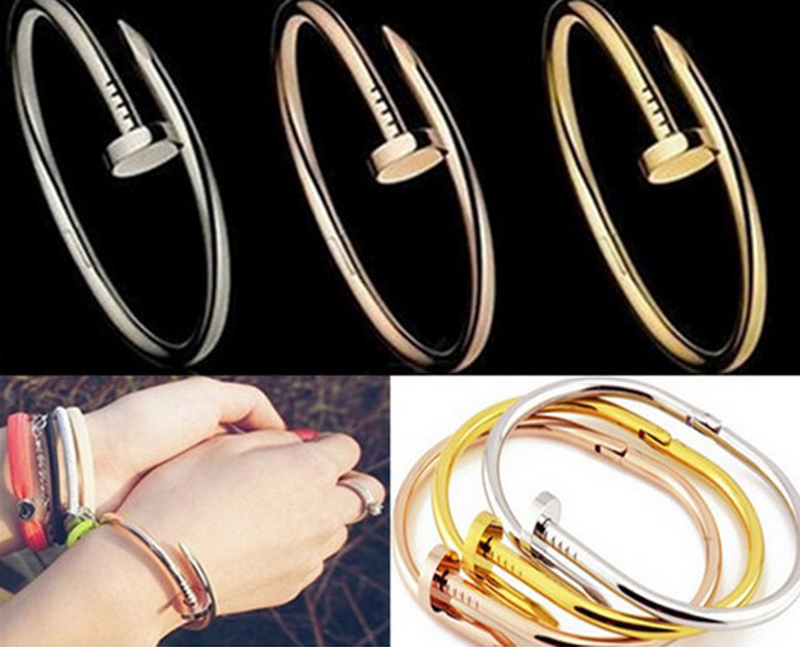 2015 New Charming Nail Bangle Stainless Steel Top Quality 2 Colors Bracelet Bangle For Women(China (Mainland))