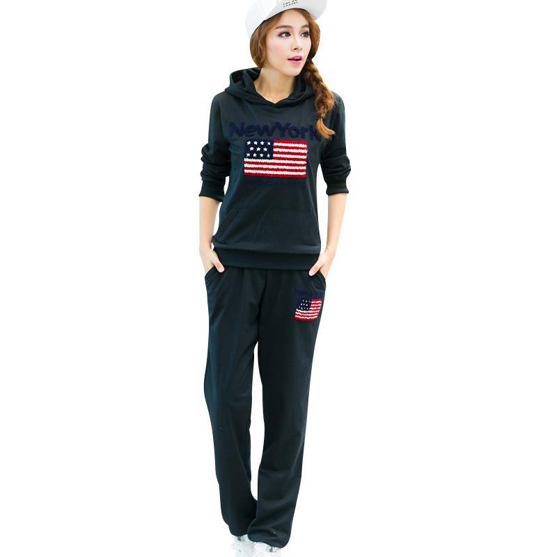 New Arrival Women Outdoor Fashion Suit Large Size L-4XL Hooded Design Tops + Sport Pants Lady Casual Clothing Set(China (Mainland))