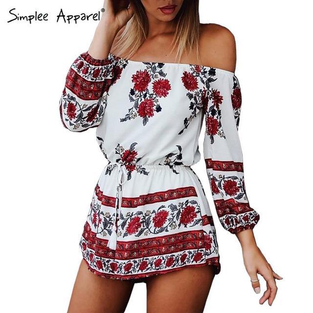 Simplee Одежда Сексуальная с плеча красный цветочный принт элегантный комбинезон ...