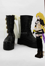 RWBY Yellow Trailer Yang Xiao Long Anime Cosplay Women Boots Girls Platform Shoes Custom Mid Calf Costume Boots New Arrival(China (Mainland))