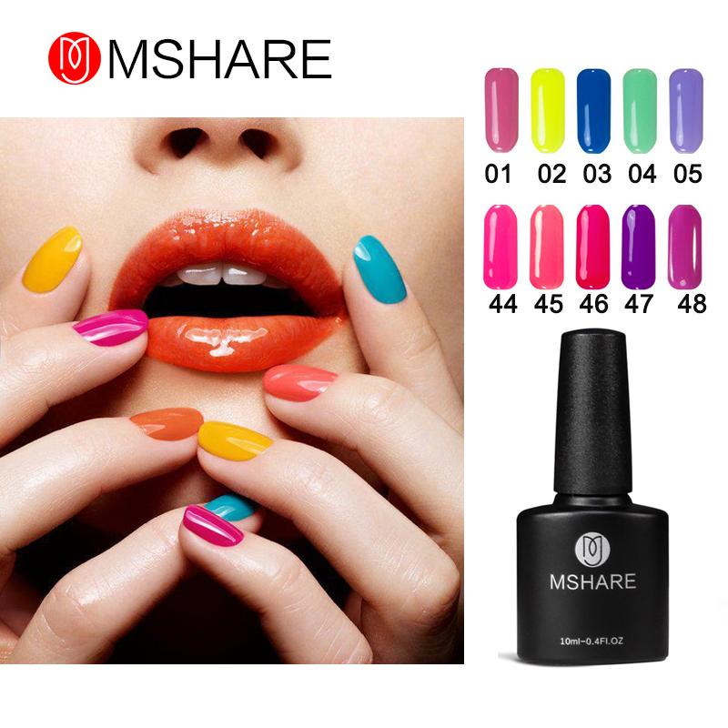 MSHARE 10ml 1pcs UV Gel Nail Polish Gelpolish Nail Art Bright Shining Colors Optional Varnish LED UV Gel Polish Candy Color(China (Mainland))