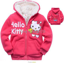 2016 Baby girls Hello Kitty coat Hooded  fur Sweater Winter Warm Jacket Children outerwear kids clothes retail(China (Mainland))