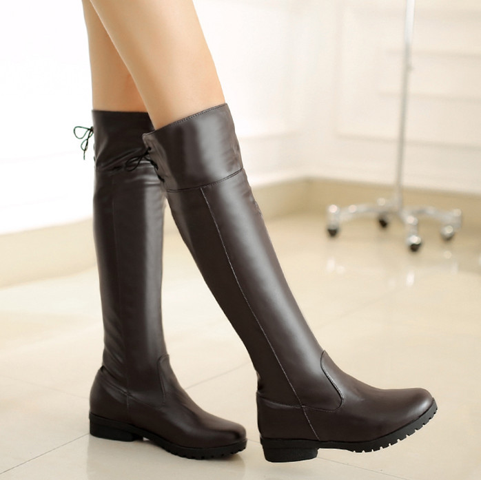 ENMAYER Factory Discount  sexy Spring / Autumn knee high boots for women Med platform women boots big size34-44 motorcycle boots<br><br>Aliexpress