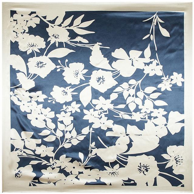 90 см * 90 см мода женщины площади шелковый шарф платок печатных весна осень национальный бренд бежевый шарфы атласа шелковый шарф обертывания