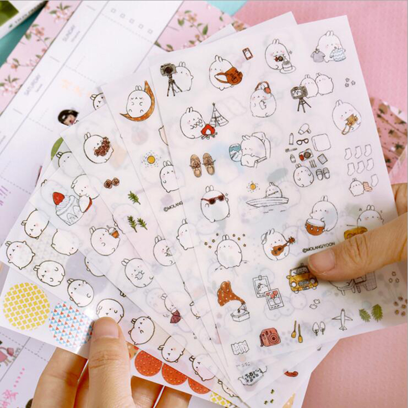 6 Pcs / Pack Korea Molang Stupid Meng Super Cute Rabbit Yuangun Pet Decorative Stickers Diary Stickers The Second Quarter(China (Mainland))