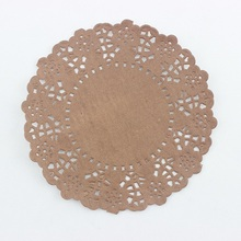 """4.5"""" round brown paper lace doilies decorating paper placemats(China (Mainland))"""