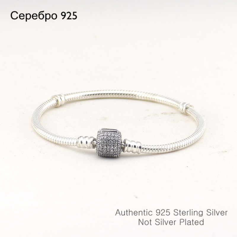 Trendy Jewelry Cylinder Shape Silver Bracelets With CZ 100% 925 Sterling Silver Charm Bracelets for Women DIY Wholesale(China (Mainland))