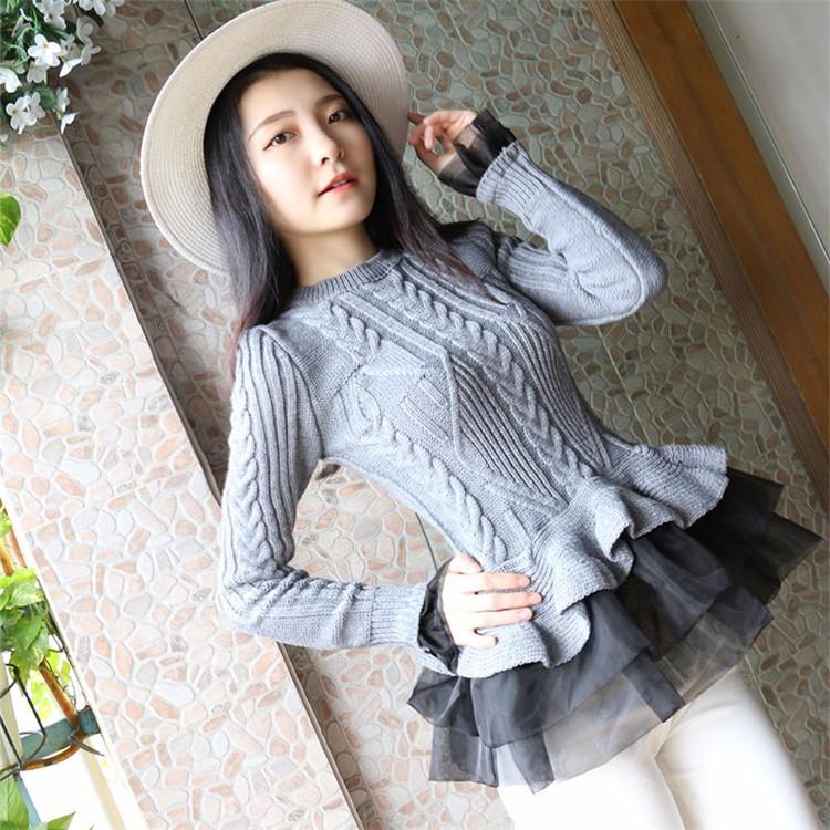 ฤดูใบไม้ร่วงฤดูหนาวเสื้อสวมหัวผู้หญิงถักเสื้อกันหนาว2016ใหม่เกาหลีแฟชั่นOrganza P Atchworkเร้าใจด้านล่างPeplumท็อปส์สุภาพสตรีจัมเปอร์ ถูก