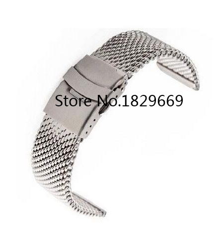 Watch band 24mm Silver Stainless Steel Bracelt Strap Mesh Band <br><br>Aliexpress
