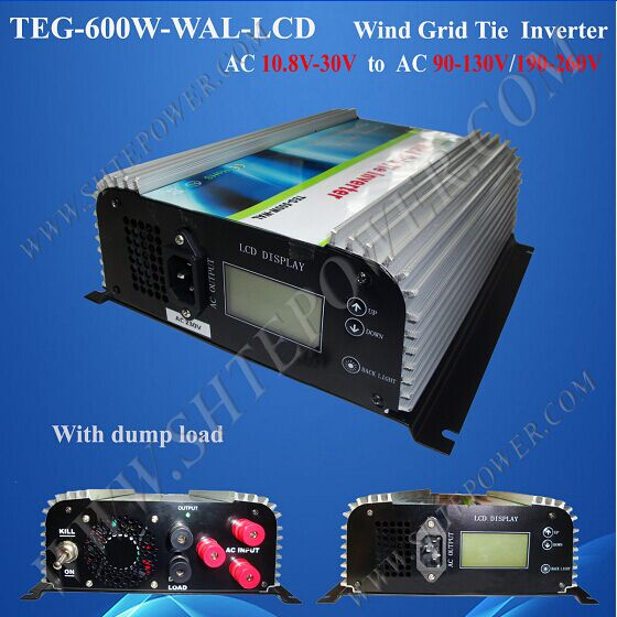 AC 3phase input 10.8-30v to ac 220v 230v 240v 600w wind turbines inverters with dump load and lcd display(China (Mainland))