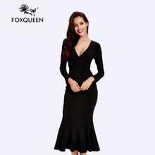 Foxqueen2017the новая европа и соединенные штаты с длинным рукавом вязать dress атмосфера моды воспитать в себе мораль(China (Mainland))