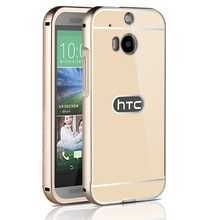 2015 Hot For HTC M8 Metal Case Acrylic Back Cover & Aluminum Frame Set Phone Bag Cases for HTC One M8(China (Mainland))