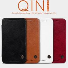 Original Nillkin Qin Series Luxury Flip Leather Case For Motorola Moto G3 Moto G Gen 3 XT1548 Classical Leather Cover Case +Film(China (Mainland))