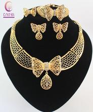 Women Costume Jewelry Necklace Sets Fashion 18k Gold Plated Butterfly Dubai Rhinestone Wedding Bridal nigerian Jewelry Set(China (Mainland))