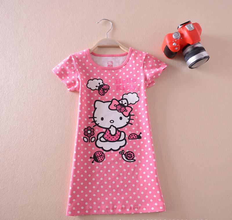 2015 summer new baby girls clothes 100% cotton girl dress lovely dot hello kitty dress A-line short sleeve kid pink dress bebes(China (Mainland))