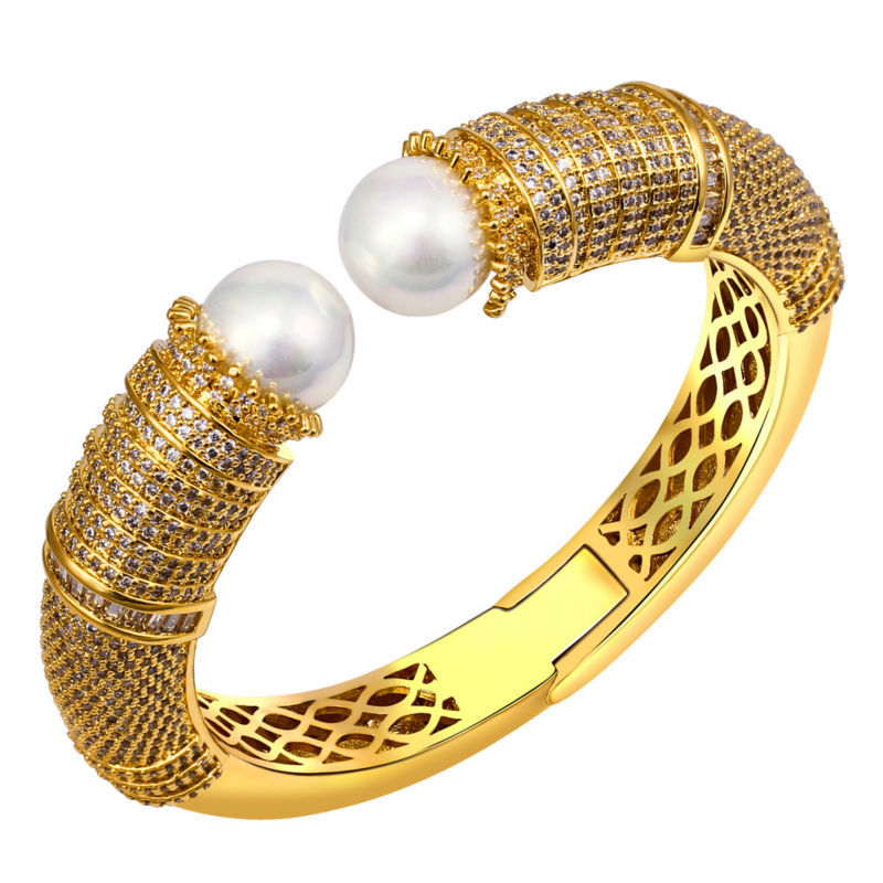 AAA Cubic Zirconia Bangles Women Deluxe Round Shape Pearl Bangle Cadmium Free Dancing Party Presents 65008-18<br><br>Aliexpress