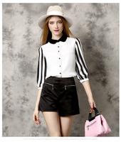 2016 chiffon fashion perter pan collar single button striped patchwork blusas