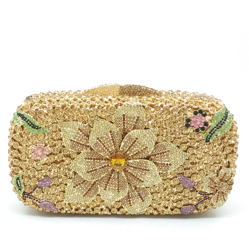 Women Flower Gold Crystal Rhinestones Handbags Ladies Wedding Party Evening Metal Box Clutch Shoulder Bag Bolsa Feminina Pequena(China (Mainland))