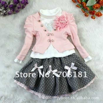 Fress shipping 4 pieces/lot Children's clothing baby girl's dress suits girls flower coat Cardigan T- shirt bow skirt 3pcs sets