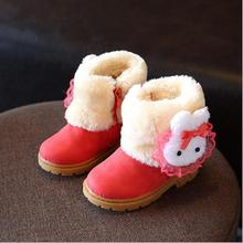 Princess Girls Boots Children Shoes New Winter Plush Warm Bow Fashion Girl Snow Boots Kids Soft Bow Cute Girls Shoes Size 21-30(China (Mainland))