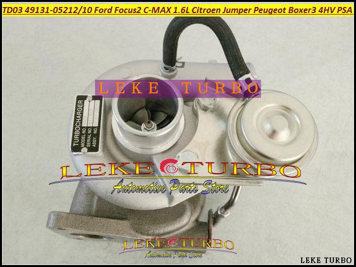 TD03 49131-05210 49131-05212 0375K7 6U3Q6K682AE Turbo Turbocharger For Ford Focus II C-MAX Fiesta VI 1.6L Citroen Jumper Peugeot Boxer III 4HV PSA 2.2L HDI- (5)