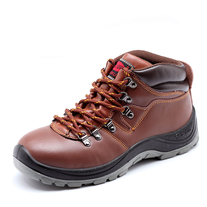 big size brown steel toe cap work safety ankle boots men cow leather puncture proof women shoes protection footwear